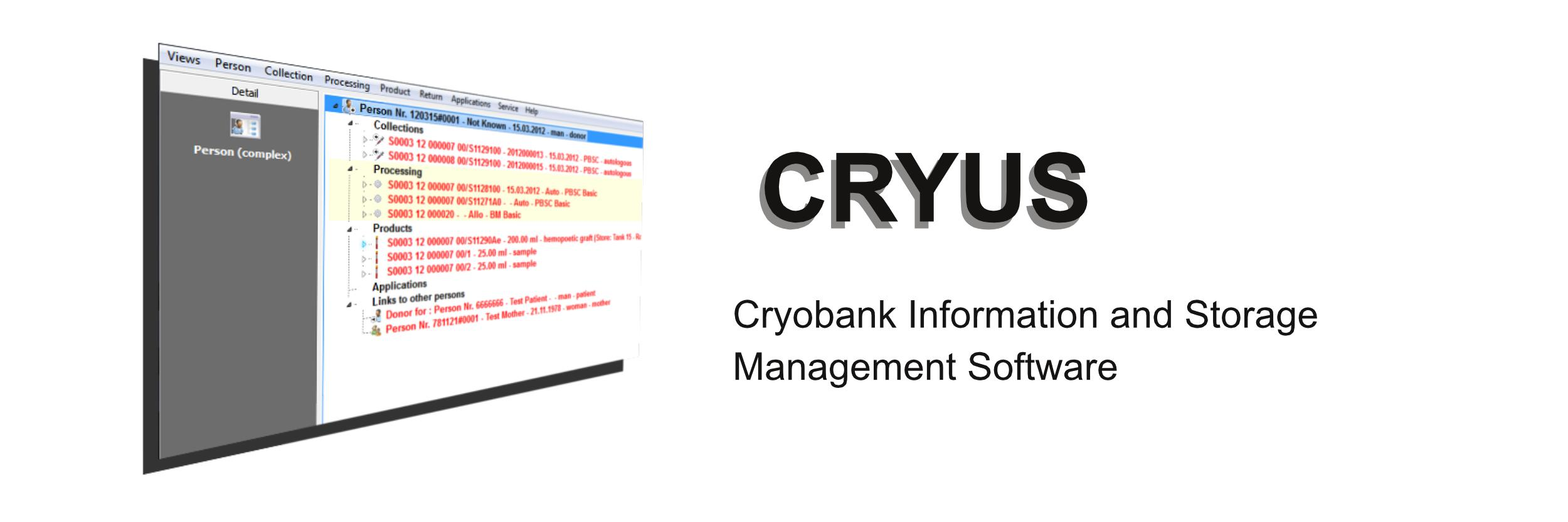 CRYUS - Cryobank Information and Storage Management Software